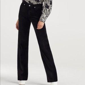7 Jeans Black Velvet Straight Leg Pants Designer